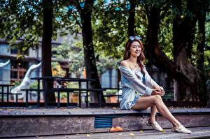 Sfondi desktop Asiatico Seduta Abito Le gambe giovane donna