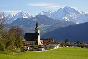 Hintergrundbilder Österreich Berg Kirche Haus Alpen Hallein