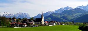 Hintergrundbilder Österreich Gebirge Kirche Haus Alpen Tirol, panorama