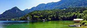 Hintergrundbilder Österreich Gebirge See Alpen Grundlsee, panorama