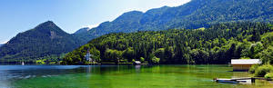 Wallpapers Austria Mountains Lake Panorama Alps Grundlsee Nature