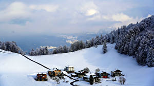 Wallpapers Austria Mountains Winter Building Alps Snow Clouds Village  Nature