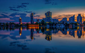 Image Austria Vienna Building Pier Evening River Reflection Cities