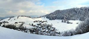 Hintergrundbilder Österreich Winter Berg Haus Schnee Dorf Alpen Tennengau Natur