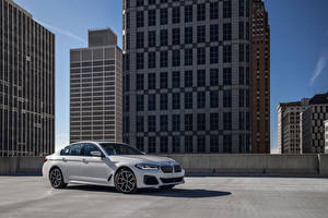 Desktop wallpapers BMW White Metallic 540i xDrive M Sport, North America, (G30), 2020 Cars