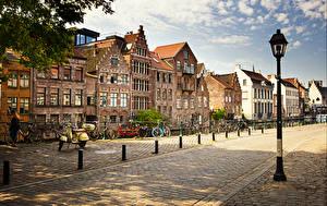 Bakgrundsbilder på skrivbordet Belgien Gent Hus Gatubelysning Gate
