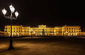 Hintergrundbilder Neujahr Österreich Wien Palast Nacht Straßenlaterne Platz Tannenbaum