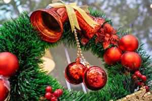 Wallpapers New year Branches Balls Handbell Bowknot