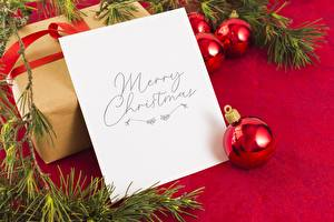 Wallpapers Christmas Branches Balls Box Sheet of paper Word - Lettering English