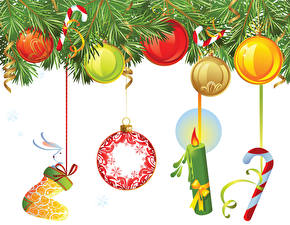 Wallpapers New year Candles Balls Branches