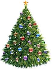 Wallpaper New year Christmas tree Balls