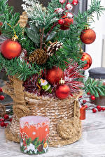 Pictures Christmas New Year tree Balls Conifer cone