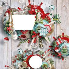 Hintergrundbilder Neujahr Weihnachtsbaum Kugeln Bretter Ast Stern-Dekoration Vorlage Grußkarte