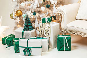 Wallpapers Christmas New Year tree Gifts Balls