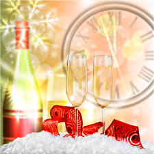 Picture New year Clock Champagne Stemware 2 Bottle Food