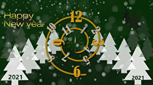 Picture Christmas Clock face 2021 Christmas tree Lettering English
