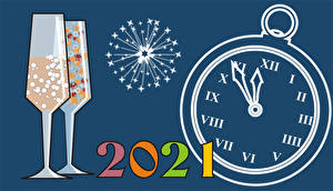 Desktop wallpapers New year Clock face Fireworks 2021 Stemware