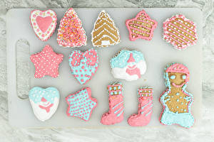 Images Christmas Cookies Design Wearing boots Heart Star decoration New Year tree