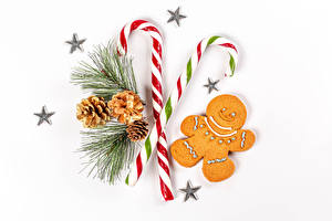 Wallpaper Christmas Cookies Lollipop White background Branches Conifer cone Little stars