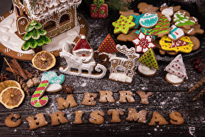 Wallpaper Christmas Cookies Powdered sugar Boards Lettering English Design Food