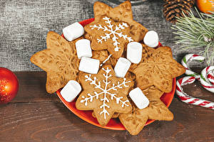 Pictures Christmas Cookies Boards Marshmallow Snowflakes Food
