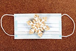 Bureaubladachtergronden Kerst Coronavirus Masker Sneeuwvlok
