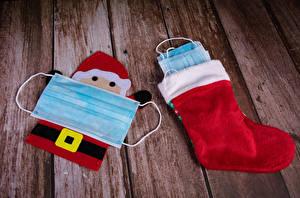 Wallpaper New year Coronavirus Masks Wood planks Socks Santa Claus