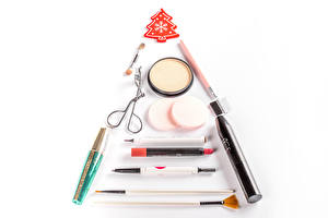 Picture Christmas Cosmetics Lipstick White background New Year tree