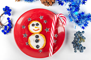 Images Christmas Creative Pancake Lollipop Berry Soured cream White background Plate Little stars Food