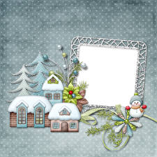 Hintergrundbilder Neujahr Haus Schneemänner Ast Tannenbaum Vorlage Grußkarte