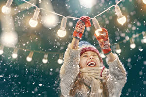 Wallpapers Christmas Little girls Joyful Fairy lights Glove Children