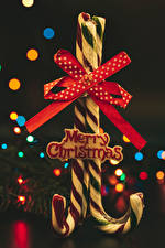Images Christmas Lollipop Gray background English Text Bowknot 2 Food