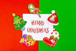 Picture Christmas Lollipop Sheet of paper Word - Lettering English Winter hat Christmas tree Present Santa Claus Heart