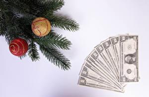 Fondos de escritorio Año Nuevo Dinero Dólar Papel moneda Fondo gris Rama Bolas