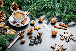 Wallpapers New year Nuts Star anise Illicium Cinnamon Cookies Hot chocolate drink Branches Pine cone Christmas tree Snowflakes Cup