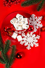 Wallpapers New year Red background Plate Branches Snowflakes Balls Mug Marshmallow Food
