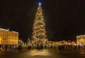 Fotos Neujahr Russland Sankt Petersburg Abend Platz Tannenbaum Lichterkette Kleine Sterne Städte