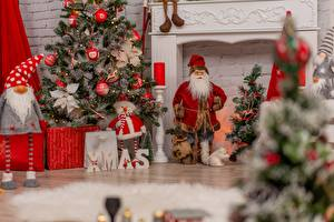 Images Christmas Santa Claus New Year tree sports
