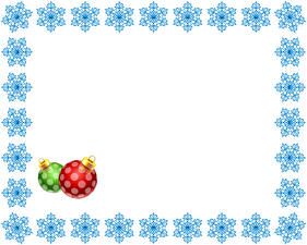 Wallpaper New year Snowflakes Balls Template greeting card