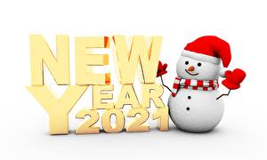 Pictures New year Snowman 2021 Lettering English