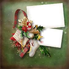 Desktop wallpapers Christmas Snowman Socks Ribbon Snowflakes Template greeting card