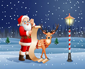 Pictures Christmas Vector Graphics Deer Street lights Snow Santa Claus Uniform Eyeglasses Bearded Sheet of paper