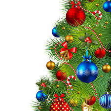 Bilder Neujahr Vektorgrafik Weißer hintergrund Tannenbaum Kugeln Schleife Vorlage Grußkarte