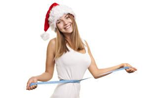 Hintergrundbilder Neujahr Weißer hintergrund Pose Starren Lächeln Hand Mütze Maßband