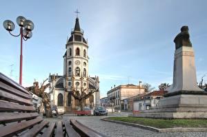 Bakgrundsbilder på skrivbordet Kyrka Monument Portugal Gatubelysning Reguengos de Monsaraz, Alentejo stad