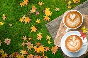 Image Coffee Cappuccino Autumn Heart Leaf Food