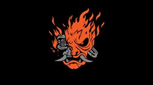 Hintergrundbilder Cyberpunk 2077 Logo Emblem Samurai Schwarzer Hintergrund Spiele