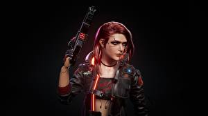 Pictures Cyberpunk 2077 Submachine gun SMG Black background Redhead girl vdeo game Girls