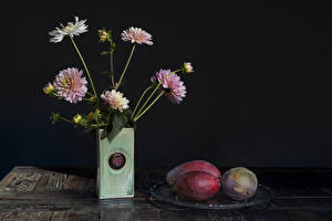 Images Dahlias Avocado Still-life Gray background Vase Flower-bud Flowers