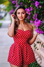 Fondos de escritorio Vestido Posando Mano Contacto visual Chicas